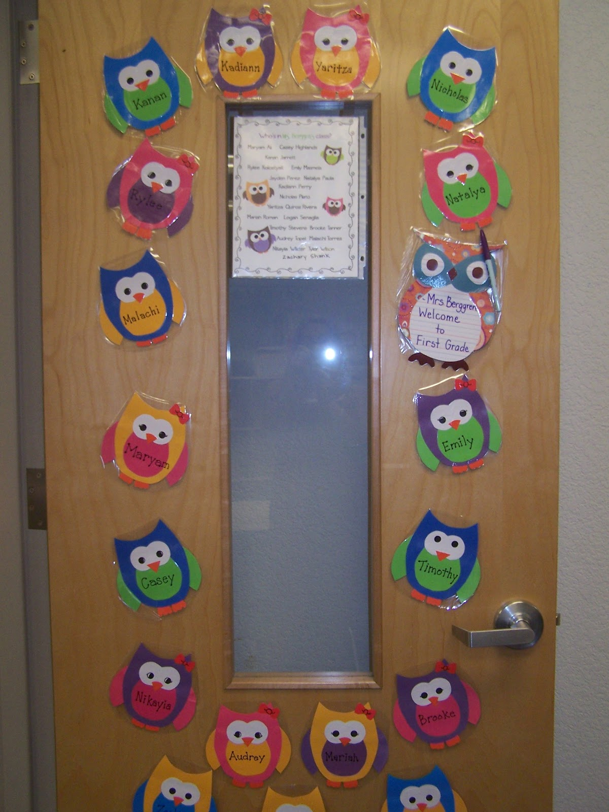 My Classroom Door. I Worked For About 2 Days On These Owls, But It Was  Worth It. They Each Have Their Own Personality Just Like My Kids.