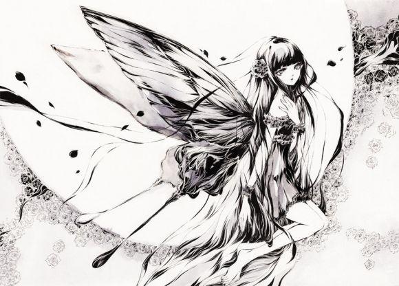 Charmal ilustrações mulheres garotas estilo anime mangá Cauda negra a luz da lua