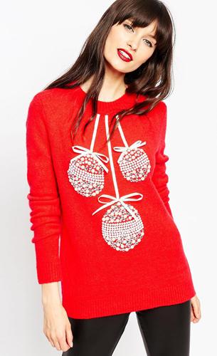 jersey rojo navideño bolas de Navidad para mujer de Asos
