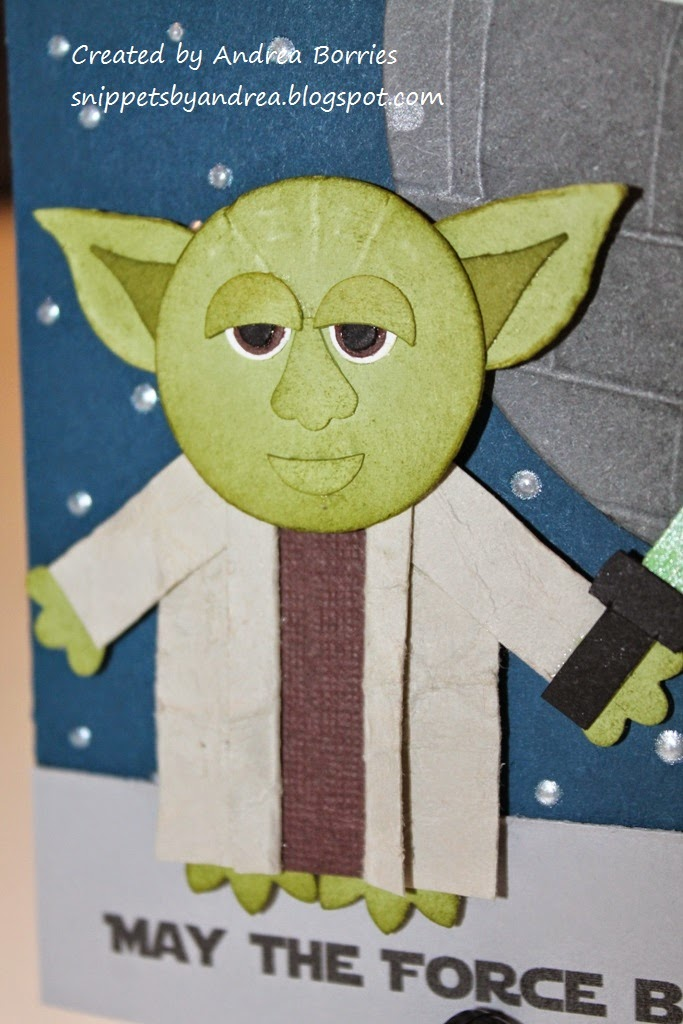 Close-up of punch-art Yoda.