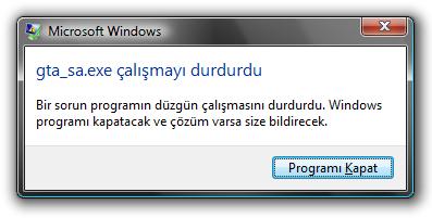 gta_sa.exe çalışmayı durdurdu