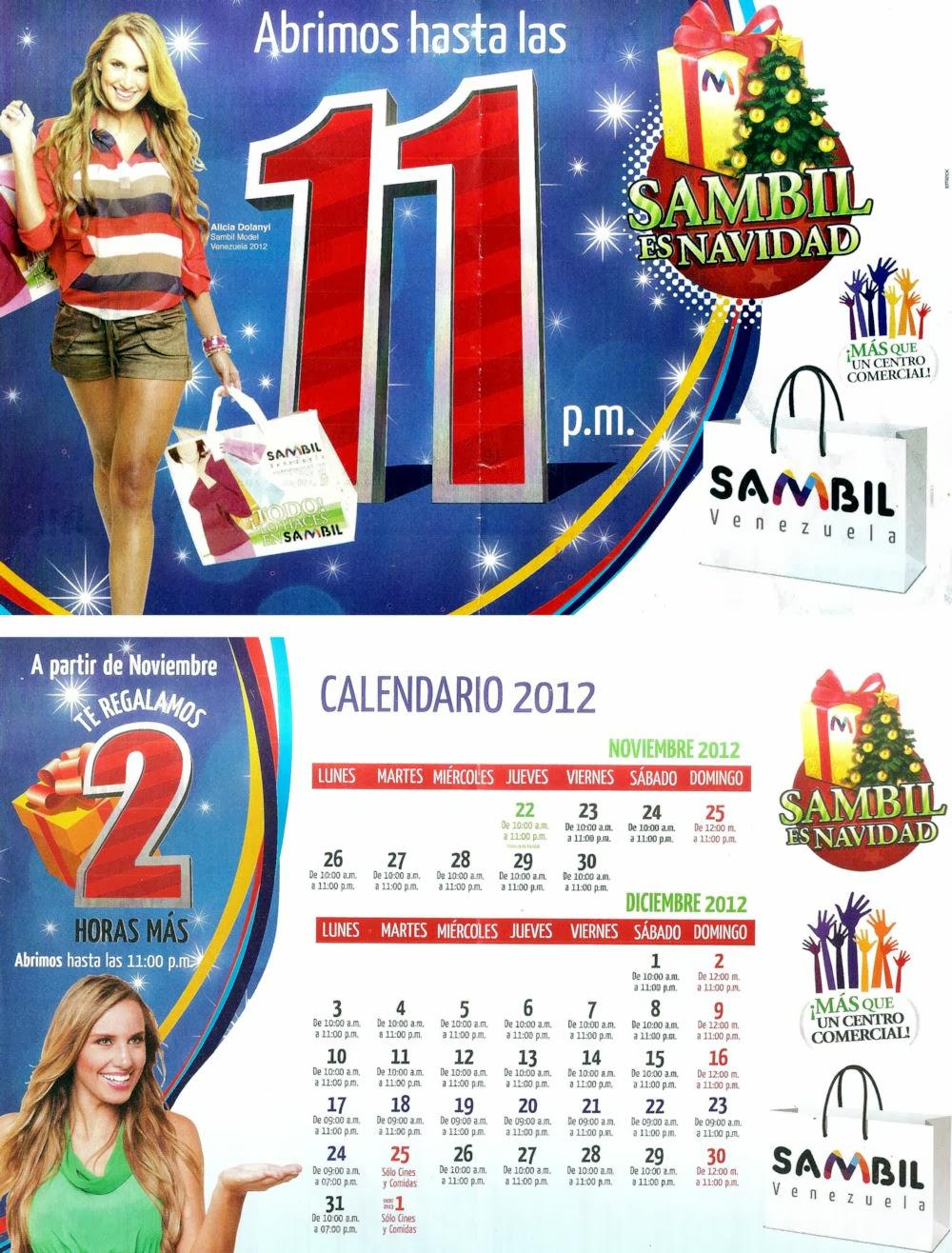 Horario Navideño del Sambil año 2012