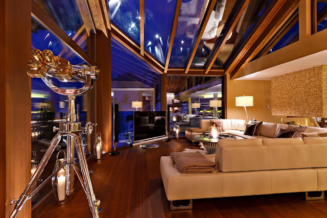 Picture of modern mountain home living room at night