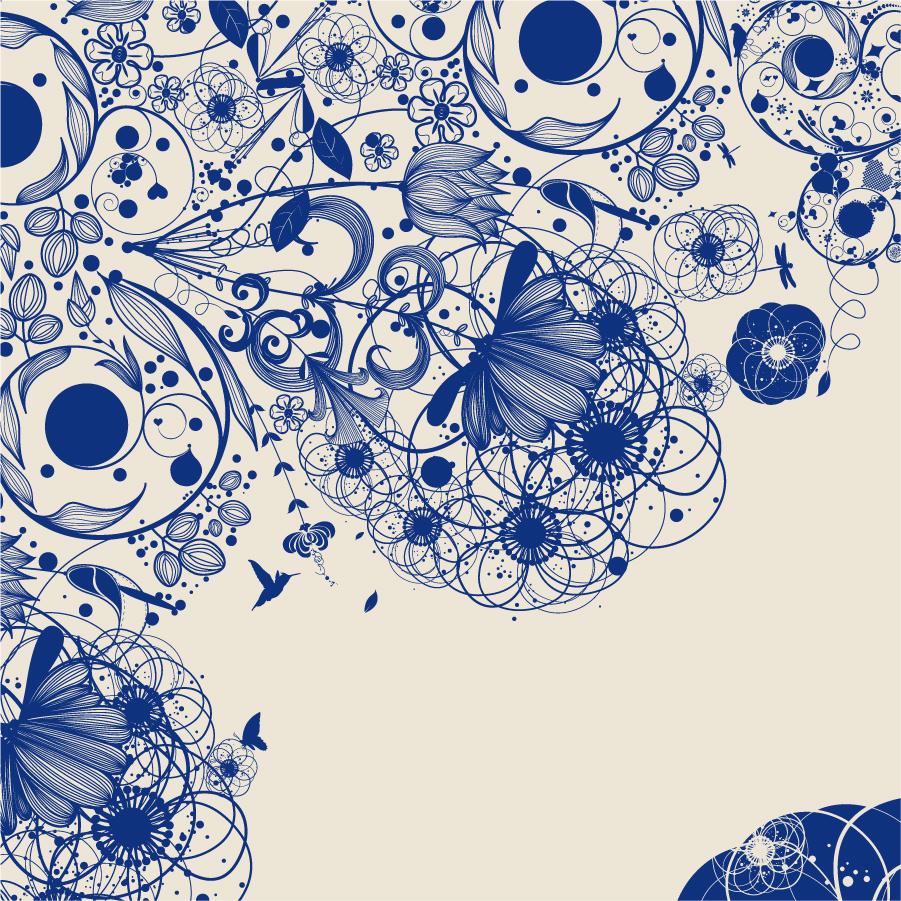 精緻な植物の線画の背景 simple and elegant pattern background イラスト素材1