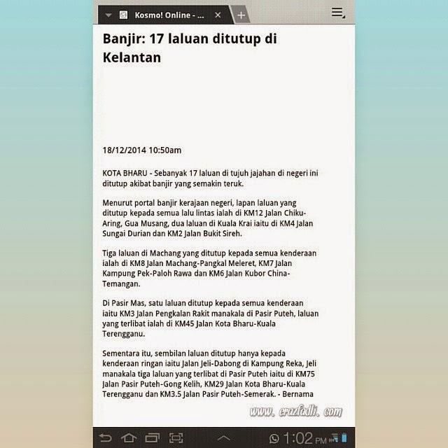 17 Laluan Ditutup di Kelantan