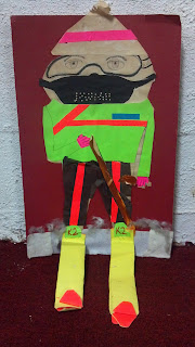 ski person made with neon paper