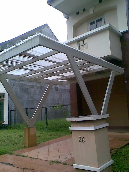 canopy rangka double, besi hollow 40 mm x 40 mm polycarbonate grey ...