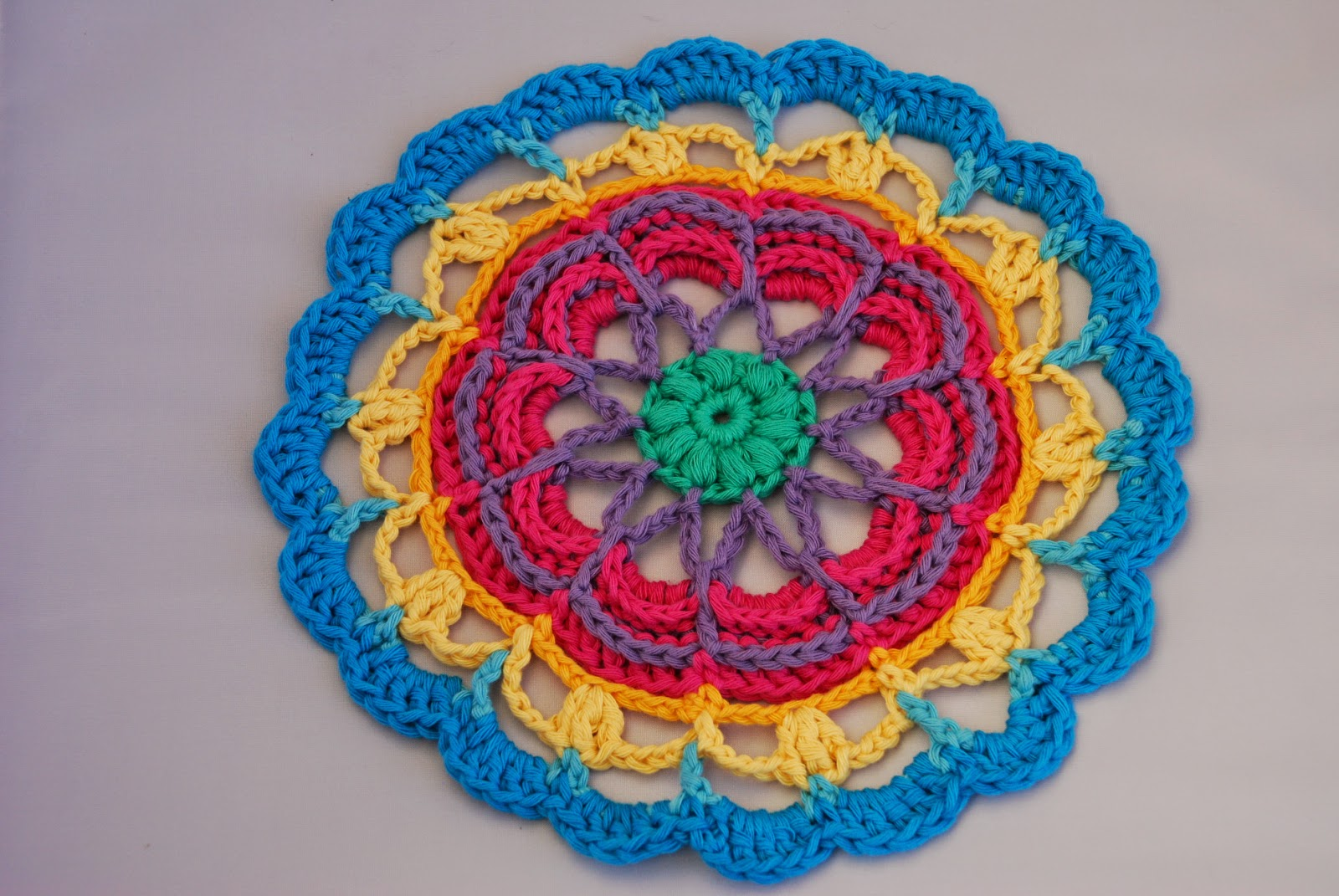 image of crochet mandala using Californian inspired colours