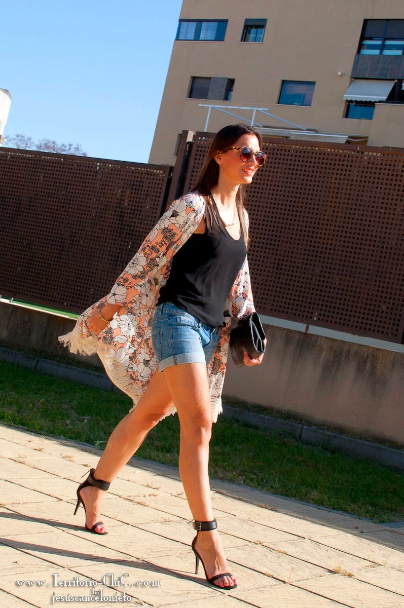 Wearing a Zara Kimono Cardigan with Black Tank Top and Denim Shorts