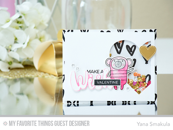 Valentine Monkey Wish Card by Yana Smakula featuring the Label Maker Love and Laina Lamb Design Count the Stars stamp sets, Cheeky Monkey stamp set and Die-namics, Stitched Heart STAX and Laina Lamb Design Stars & Wishes Die-namics #mftstamps