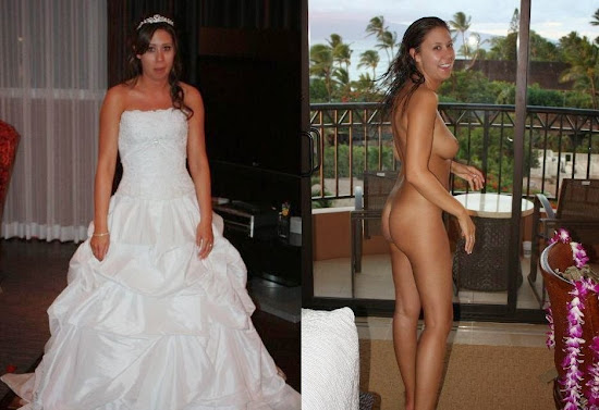 woman in her wedding dress and naked