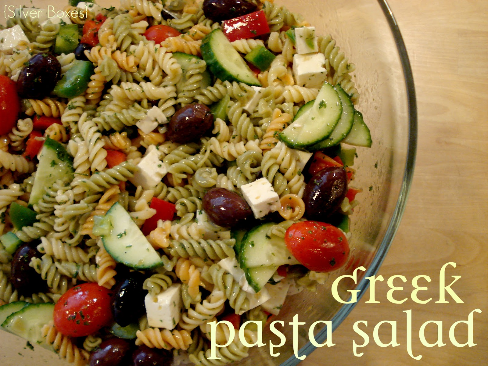 Silver Boxes: Greek Pasta Salad