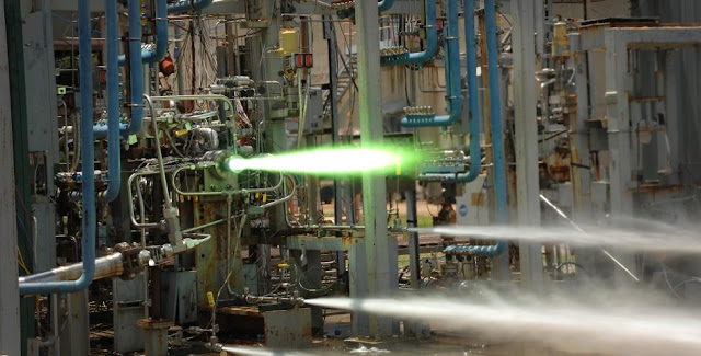 Marshall engineers installed the injector in a subscale RS-25 engine model. During hot-fire testing, the engine and part were exposed to temperatures of nearly 6,000 degrees Fahrenheit. Image Credit: NASA/MSFC