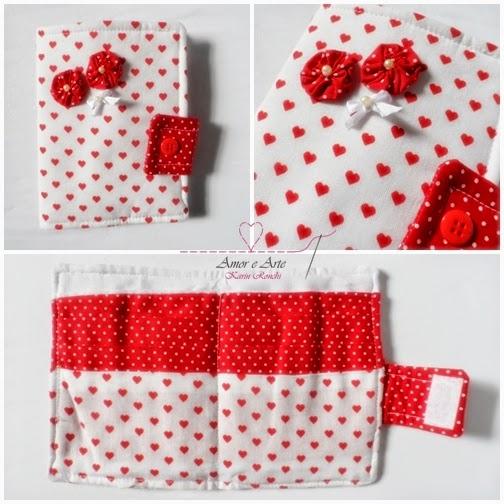 Carteira em tecido - Lover 2 - Branco corações e Vermelho poá