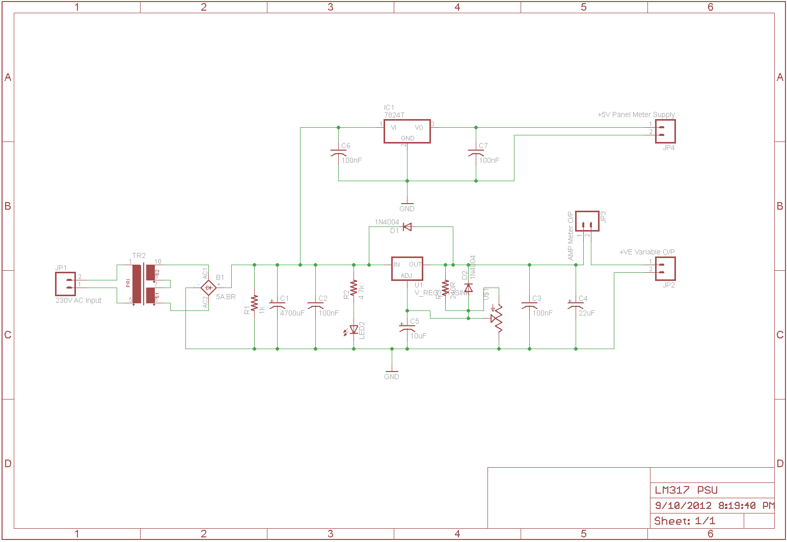 The Answer Is 42 Lm317 Pcb Layout Printed Circuit Board Design Fabrication Now That We Have Designed Variable Power Supply Its Time To Make A Mount Components Onto And Route Connection Tracks