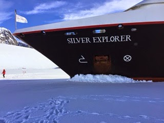 Silver Explorer parked in the ice in Antarctica