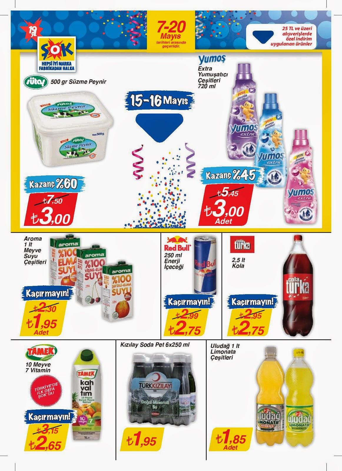 ŞOK Market 7 - 20 Mayıs 2014 tarihlerindeki  Yeni Güncel Broşür,İndirim Katalog,ŞOK Market Gelecek Haftanın Fırsatları  7 - 20 Mayıs 2014 ,ŞOK Marketler Zincirinde gıda maddeleri, süt ve süt ürünleri, konserve, alkolsüz içecekler, et ve et ürünleri, meyve suları ve diğer gıda ve gıda dışı ürünlere ait yeni ve süper düşük fiyatlar.ŞOK Market aktüel ürünler  7 - 20 Mayıs 2014  tarihleri arasında geçerlidir.
