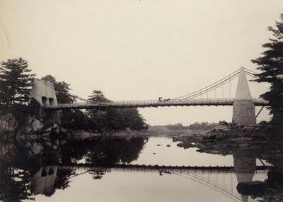 chain bridge, suspension bridge, suspension, merrimack river, deer island, newburyport