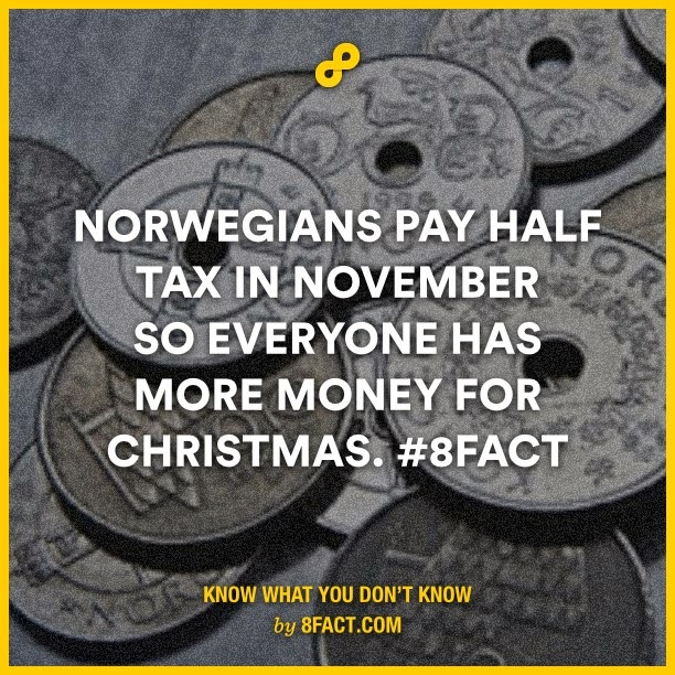 Norwegians pay half tax in November so everyone has more money for christmas
