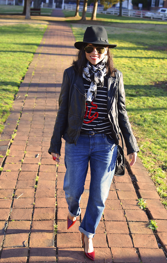 MOTORCYCLE JACKET AND BOYFRIEND JEANS