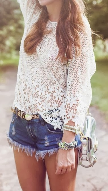 See More Crochet Top And Denim Shorts