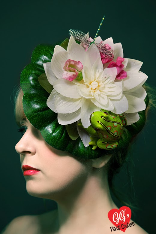 lily, fascinator, frog, dragonfly, hat, royal ascot, races, titfer
