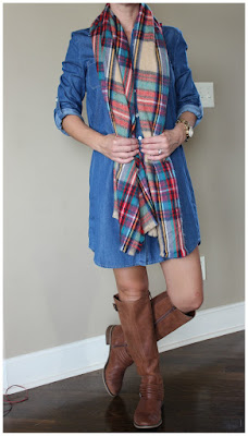 Fall outfit inspiration, denim dress, casual outfit, fashion blogger