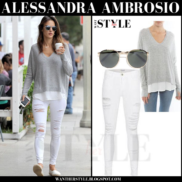 Alessandra Ambrosio in grey layered feel the piece brixton sweater and white frame denim ripped skinny jeans what she wore models off duty