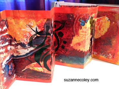 Red accordion book by Suzanne Coley