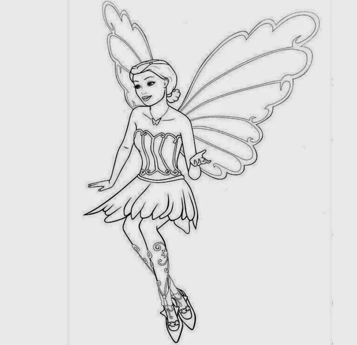 Barbie Fairy For Kid Coloring Drawing Free wallpaper