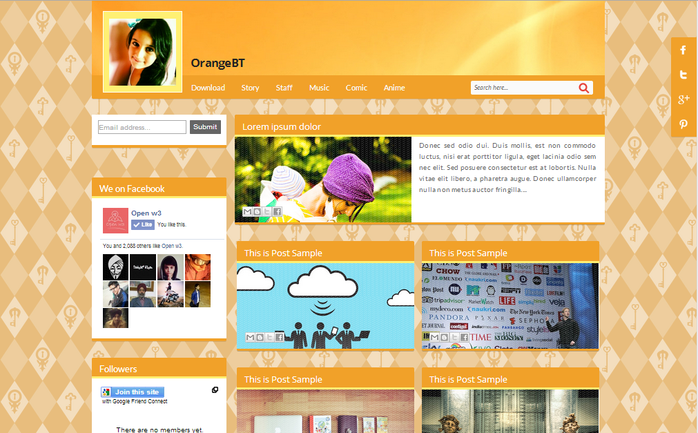 OrangeBT Blogger Template