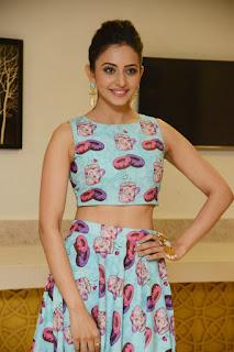 "Rakul Preet Singh Displays Her Sexy Midriff At Telugu Film  ""Pandaga Chesko"" Success Meet In Hyderabad"