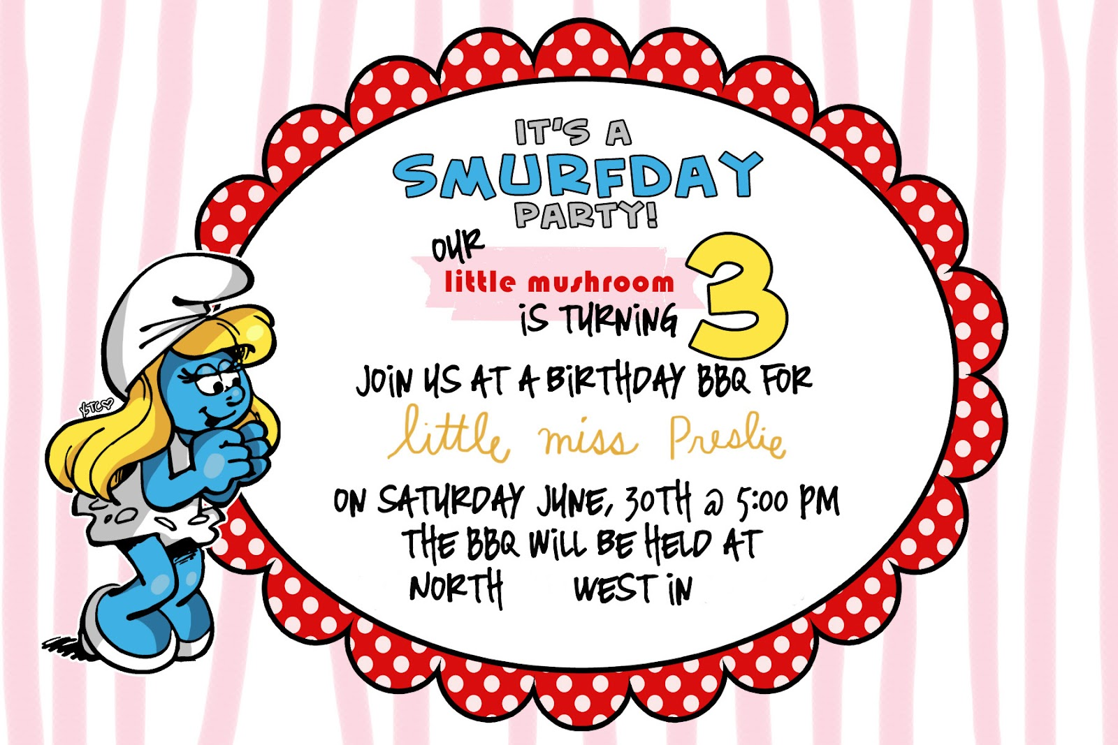 Love Notes by Lauryn: smurf party invites!