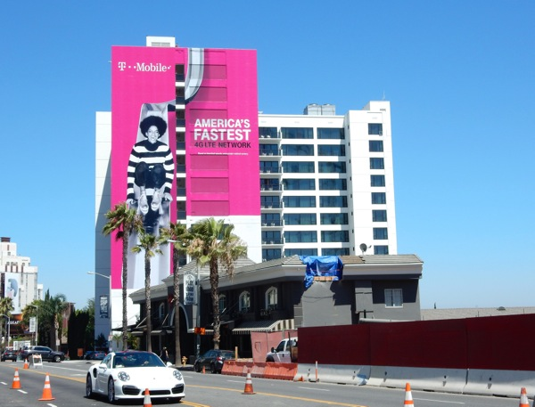 Giant T Mobile slide billboard Sunset Strip