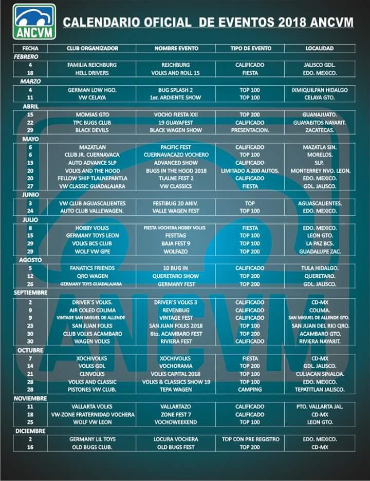 Calendário 2018 de eventos no México