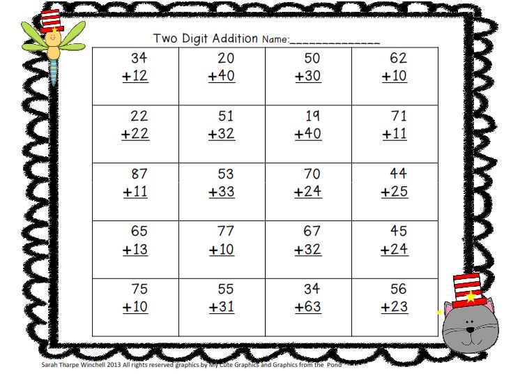 I Dream of First Grade A Cat with A Hat and Friends Math Centers – Missing Addend Worksheets First Grade