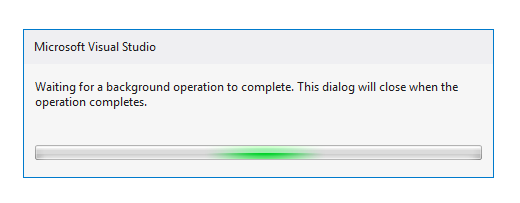 Microsoft Visual Studio Waiting for a background operation to complete. This dialog will close when the operation completes.