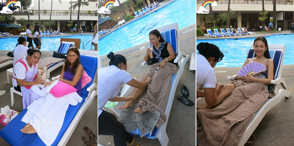 Getting pampered by the pool side