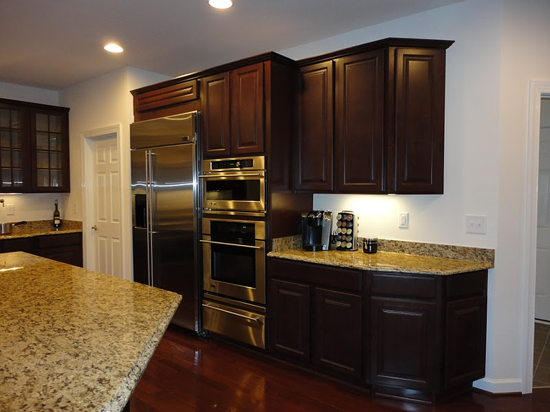 Dark Cherry Cabinets with Granite