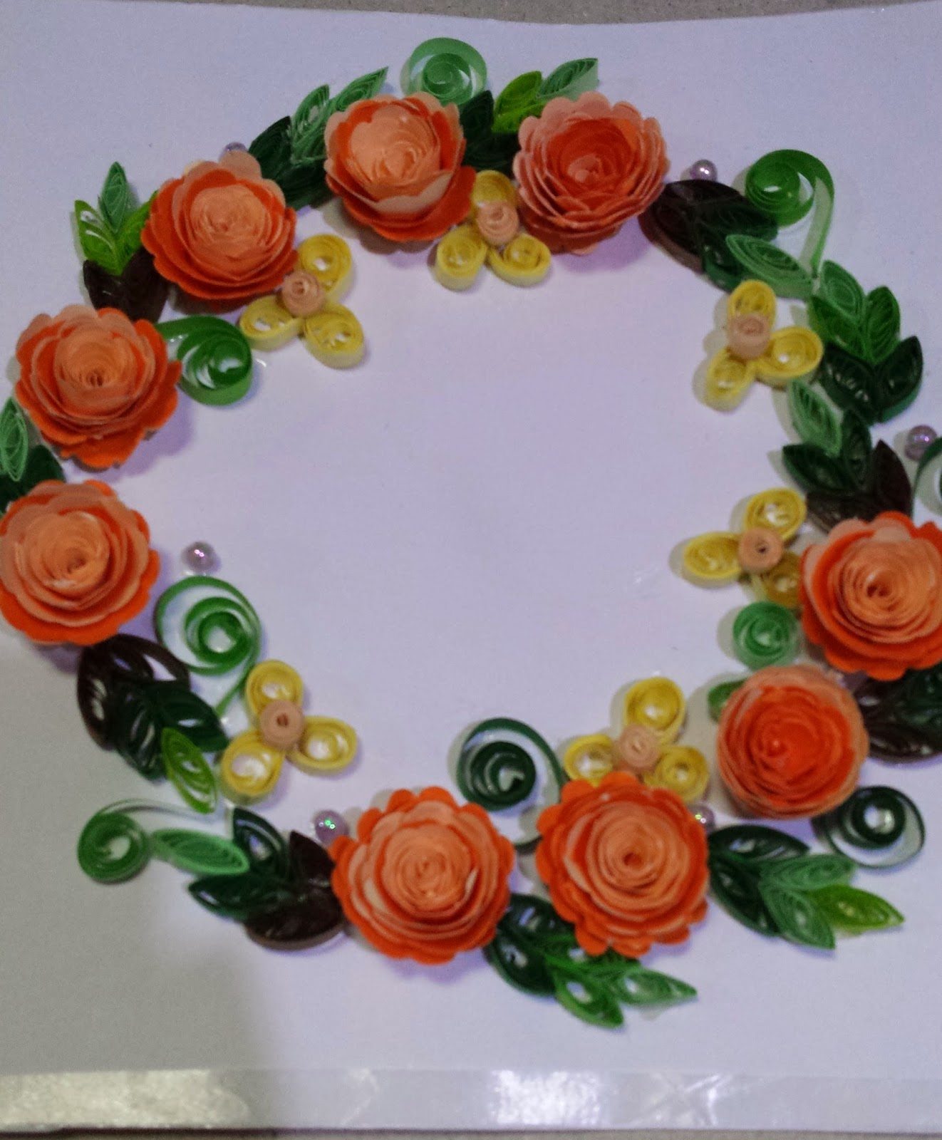 paper quilling by sheri card with orange shaded roses