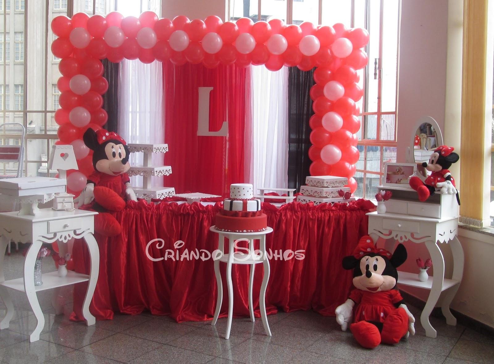 Criando Sonhos Decoração de Festa Infantil Minie Vermelha