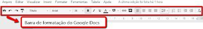 Barra de ferramenta de Edição Textual Google Docs