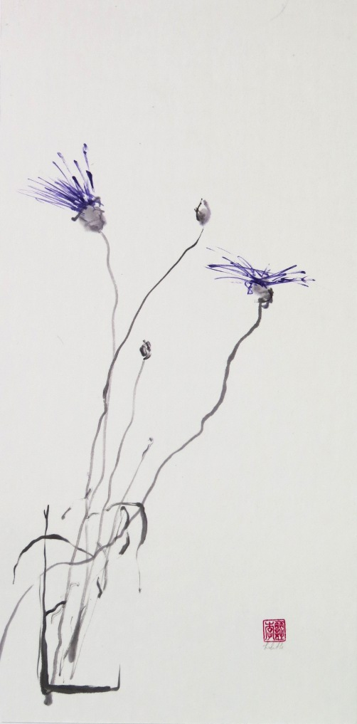 "Moderation ""Tao Te Ching"" verse 9 for Artists blog illustration of purple flowers."