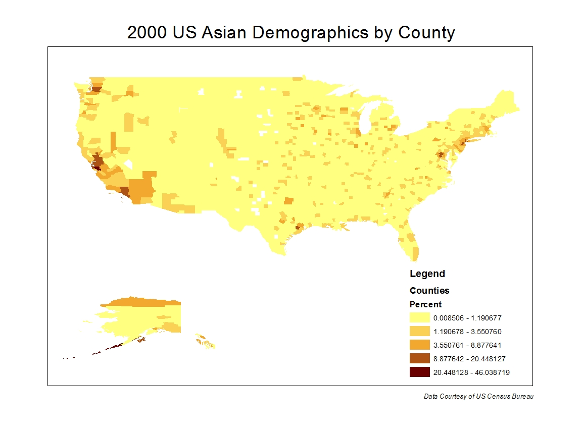 of the three maps i created the asian population demographics map reflects the most narrow distribution across the united states