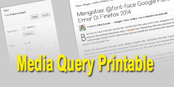 Media Query Printable