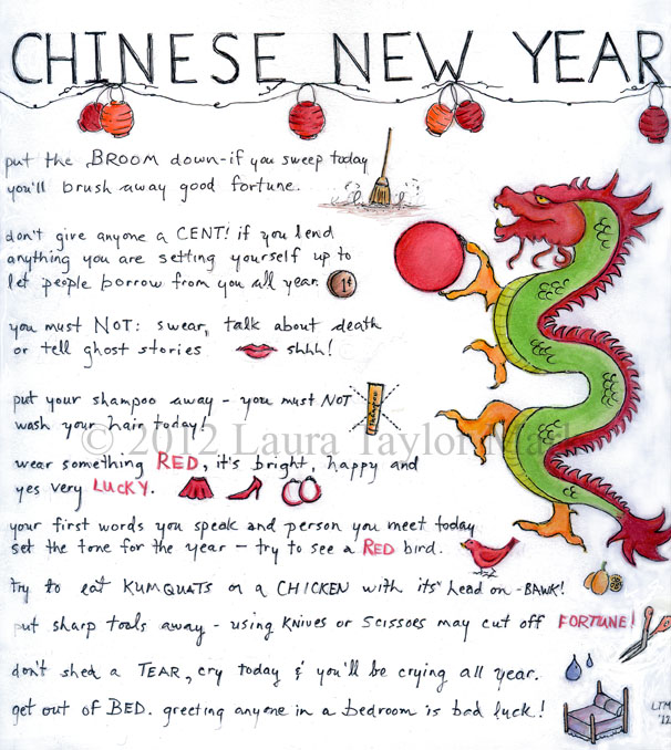 year of the dragon paint party friday - Chinese New Year Superstitions
