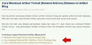 Cara Membuat Artikel Terkait (Related Articles) Didalam Isi Artikel Blog