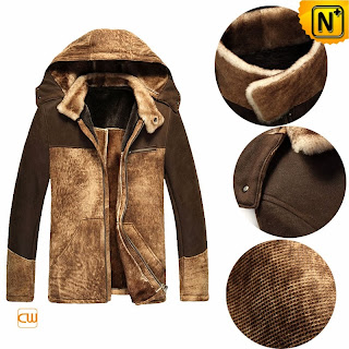 Hooded Sheepskin Shearling Jacket for Men | Fur Lined Coat