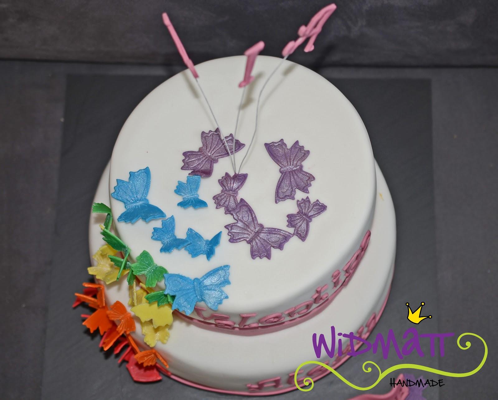 Die Schmetterlinge an dieser Torte habe ich mit schimmerndem ...