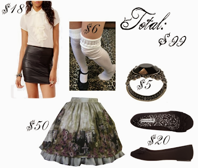 lolita outfit for under $100 that uses Forever 21 blouse and Lady Sloth skirt